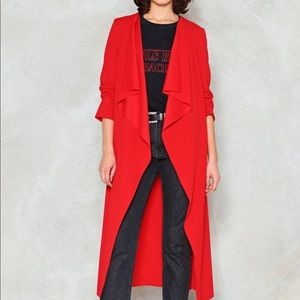 Red waterfall duster missguided